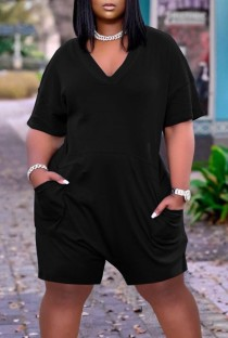 Summer Casual Black V-Neck Short Sleeve Loose Rompers with Pockets