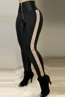 Summer Zip Up Black Side Sequins High Waist Leggings