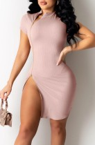 Summer Light Pink Side Reißverschluss Sexy Mini Club Kleid