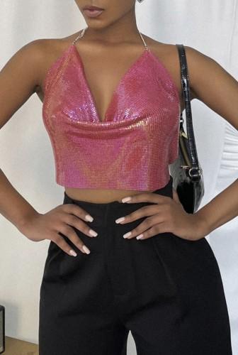 Top corto con paillettes rosa Summer Party
