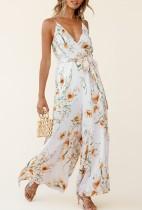 Sommer lässig Blumen weißen Schlitz unten gewickelt Riemen Jumpsuit