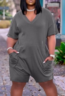 Summer Casual Grey V-Neck Short Sleeve Loose Rompers with Pockets