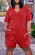 Mamelucos sueltos de manga corta con cuello en V rojo casual de verano con bolsillos