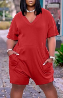 Summer Casual Red V-Neck Short Sleeve Loose Rompers with Pockets