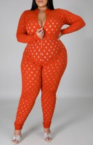 Summer Plus Size Orange Hollow Out Long Sleeve Bodycon Jumpsuit