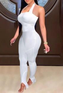 Mono bodycon halter sexy con abertura en la parte inferior blanca de verano