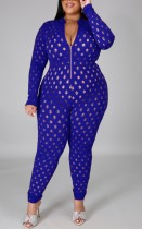 Summer Plus Size Blue Hollow Out Long Sleeve Bodycon Jumpsuit
