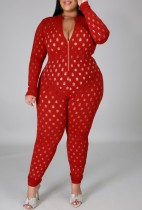 Summer Plus Size Red Hollow Out Long Sleeve Bodycon Jumpsuit