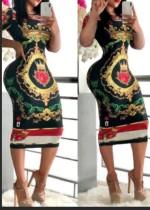 Yaz Retro Baskı Şort Kol Midi Bodycon Elbise
