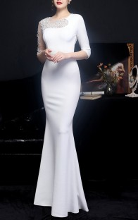 Summer Wedding White Half Sleeve Mermaid Bridal Dress