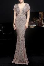 Summer Golden Sequins V-Neck Mermaid Long Evening Dress