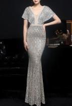 Summer Silver Sequins V-Neck Mermaid Long Evening Dress