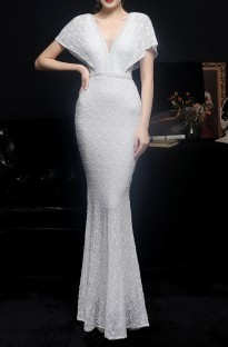 Summer Wedding White Sequins V-Neck Mermaid Bridal Dress