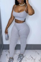 Summer Solid Color Tight Strap Crop Top and Pants 2pc Matching Set