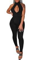 Summer Black Sexy Keyhole Top irregolare e pantaloni a vita alta 2 pezzi coordinati