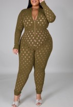Summer Plus Size Green Hollow Out Long Sleeve Bodycon Jumpsuit