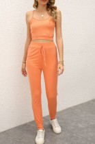 Summer Casual Orange Strap Vest and Pants Lounge Set