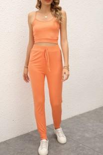 Ensemble de salon décontracté à bretelles orange et pantalon d'été