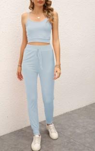 Summer Casual Blue Strap Vest and Pants Lounge Set