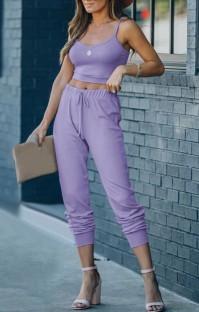 Summer Casual Purple Strap Vest and Pants Lounge Set