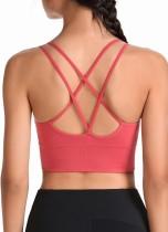 Reggiseno Yoga per spaghetti sportivi tinta unita estiva