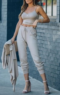 Summer Casual Grey Strap Vest and Pants Lounge Set