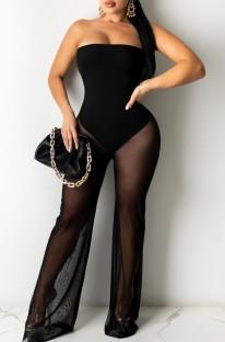Summer Black Sexy Strapless Mesh Jumpsuit