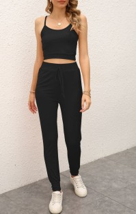 Summer Casual Black Strap Vest and Pants Lounge Set