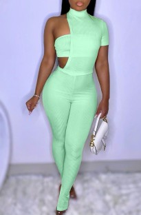 Summer Green Slit Bottom Sexy Irregular Bodycon Jumpsuit
