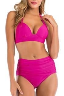 Summer Rose Two-Piece High Waist Halter Swimwear
