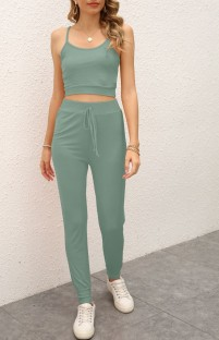 Summer Casual Green Strap Vest and Pants Lounge Set