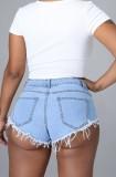 Shorts de mezclilla con borlas y cordones azul claro de verano