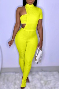 Summer Yellow Slit Bottom Sexy Irregular Bodycon Jumpsuit