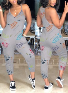 Summer Print Grey Strap Casual Jumpsuit