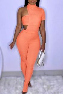 Summer Orange Slit Bottom Sexy Irregular Bodycon Jumpsuit