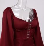 Mini-robe carrée rouge à manches bouffantes Vintage Spring