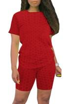 Conjunto a juego de camisa y pantalones cortos de gofres rojos casuales de verano