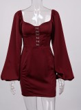 Spring Vintage Red Puff Sleeves Square Mini Dress