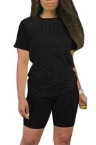 Conjunto a juego de camisa y pantalones cortos de gofres negros casuales de verano