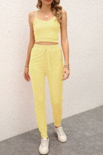 Summer Casual Yellow Strap Vest and Pants Lounge Set