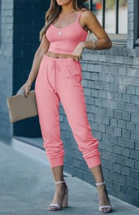 Summer Casual Pink Strap Vest and Pants Lounge Set