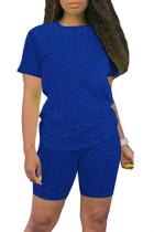 Conjunto a juego de camisa y pantalones cortos de gofres azules casuales de verano