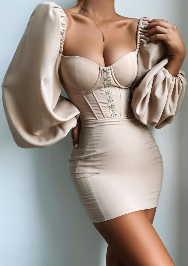 Bahar Vintage Bej Puf Kollu Kare Mini Elbise