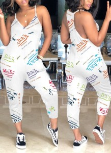 Summer Print White Strap Casual Jumpsuit