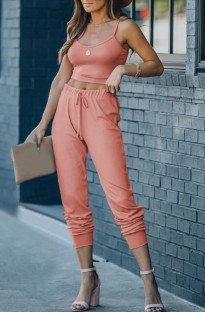 Summer Casual Solid Strap Vest and Pants Lounge Set