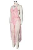 Sutiã e shorts de crochê rosa com borlas combinando com 2 peças de cobertura