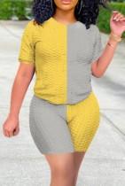 Sommer Block Farbe Freizeithemd und Shorts 2PC Set