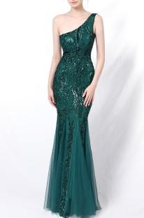 Vestido de noche de sirena de un hombro con lentejuelas verdes de verano