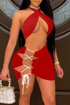 Летний красный сексуальный укороченный топ с завязками и мини-юбка на шнуровке, соответствующий комплект из 2 предметов