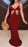 Летнее красное вечернее платье в рубчик с открытыми ремешками